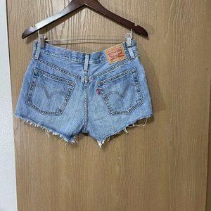 Levi's 501 High Rise Cutoff Jean Shorts Vintage Blue Wash Denim Sz 28 Button Fly